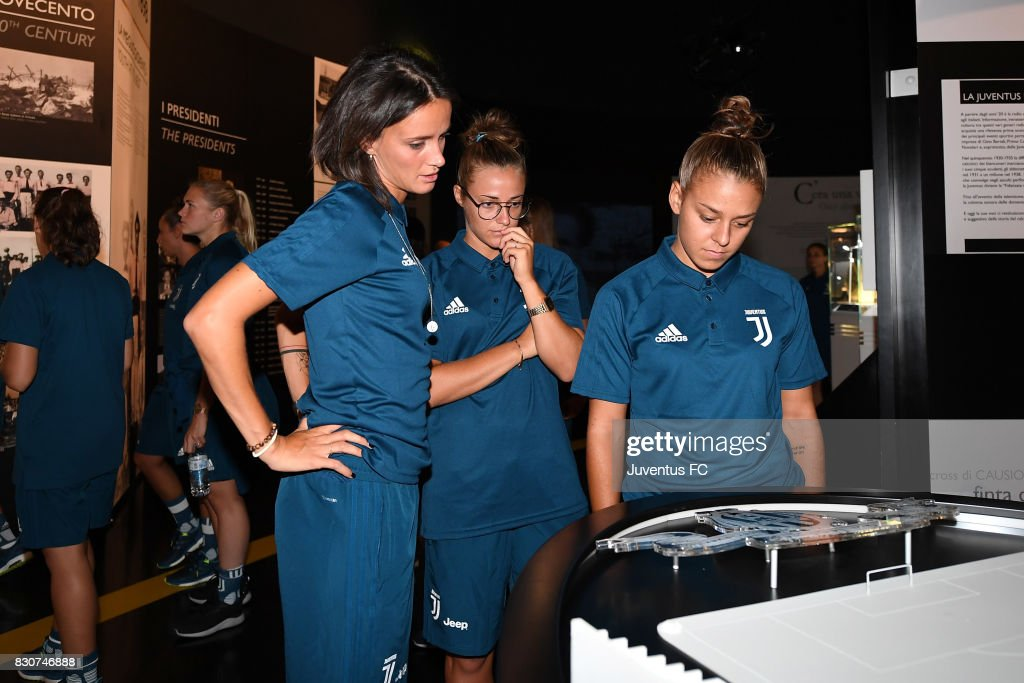 Barbara Bonansea (L) of Juventus Women looks on during a visit to the Club's Museum on August 12, 2017 in Turin, Italy. (Photo by Getty Images - Juventus FC/Getty Images
