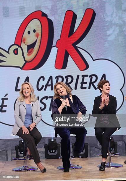 Barbara Bouchet Iva Zanicchi and Corinne Clery attends the 'Quelli Che Il Calcio' Tv Show on March 1 2015 in Milan Italy