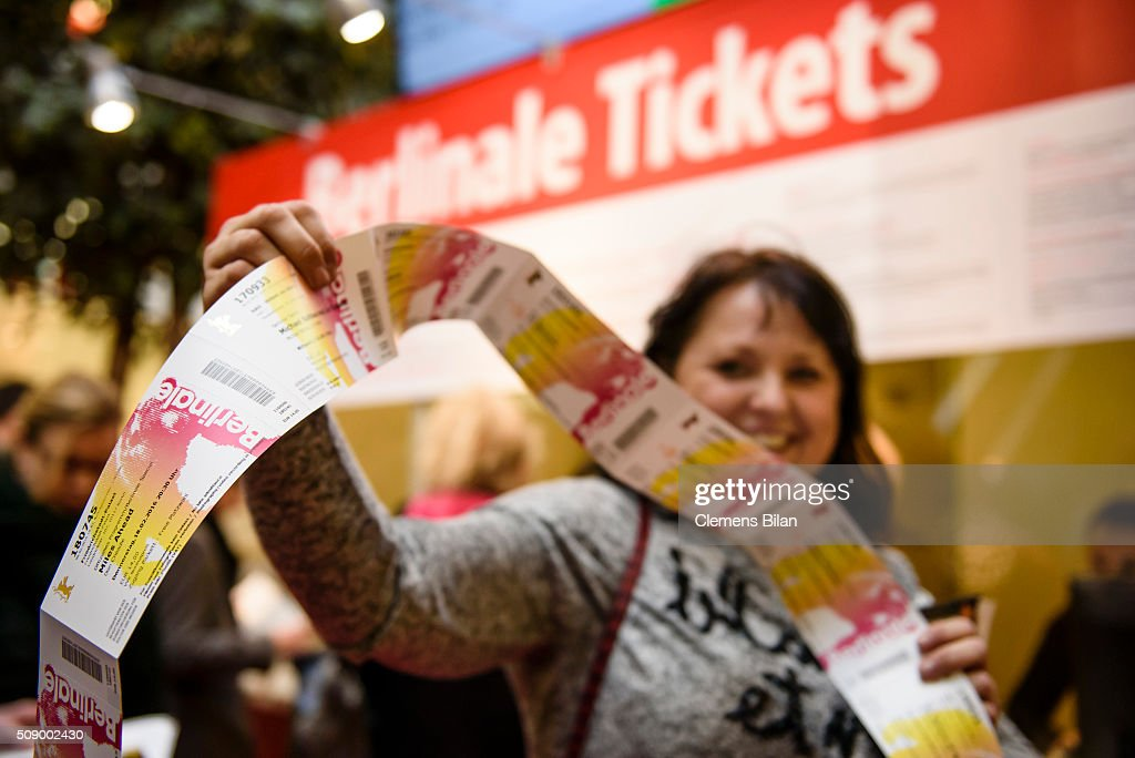 Barbara Burg presents her bought tickets in front of a ticket counter prior to the 66th Berlinale on February 8, 2016 in Berlin, Germany.