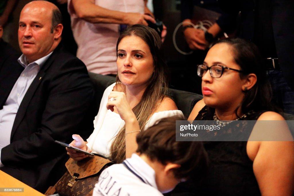 Barbara Cartaxo, wife of Paulinho, during the presentation of Paulinho as new player of FC Barcelona, in Barcelona, on August 17, 2017. Photo: JoanValls/Urbanandsport/Nurphoto --