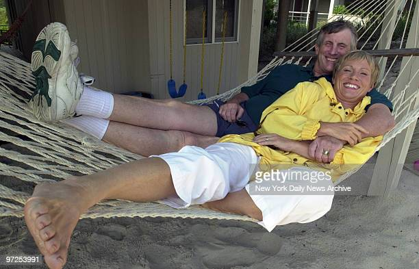 Barbara Corcoran with her husband Bill Higgins at their summer home on Fire Island