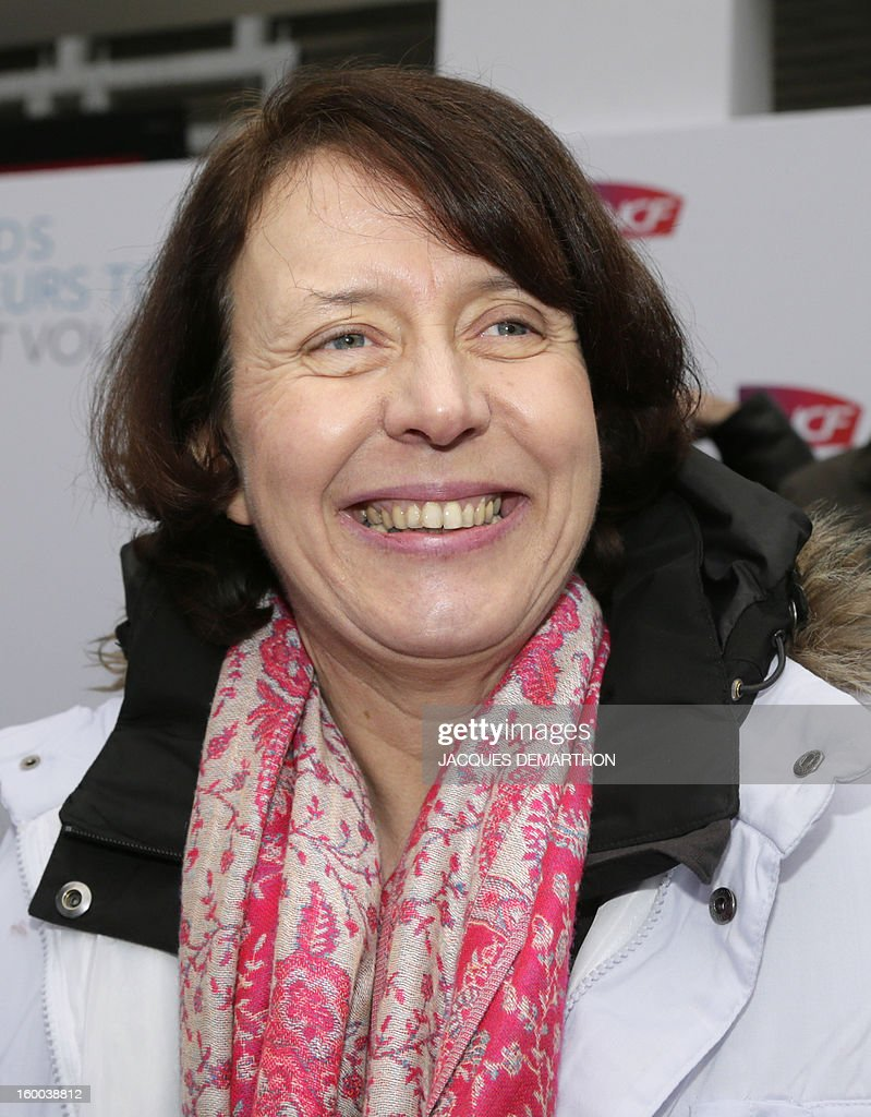 Barbara Dalibard, General Director of SNCF Voyages, is pictured at the Gare de Lyon railways station on January 25, 2013 in Paris, during the celebration of the 2 billionth traveler of the company. AFP PHOTO / JACQUES DEMARTHON