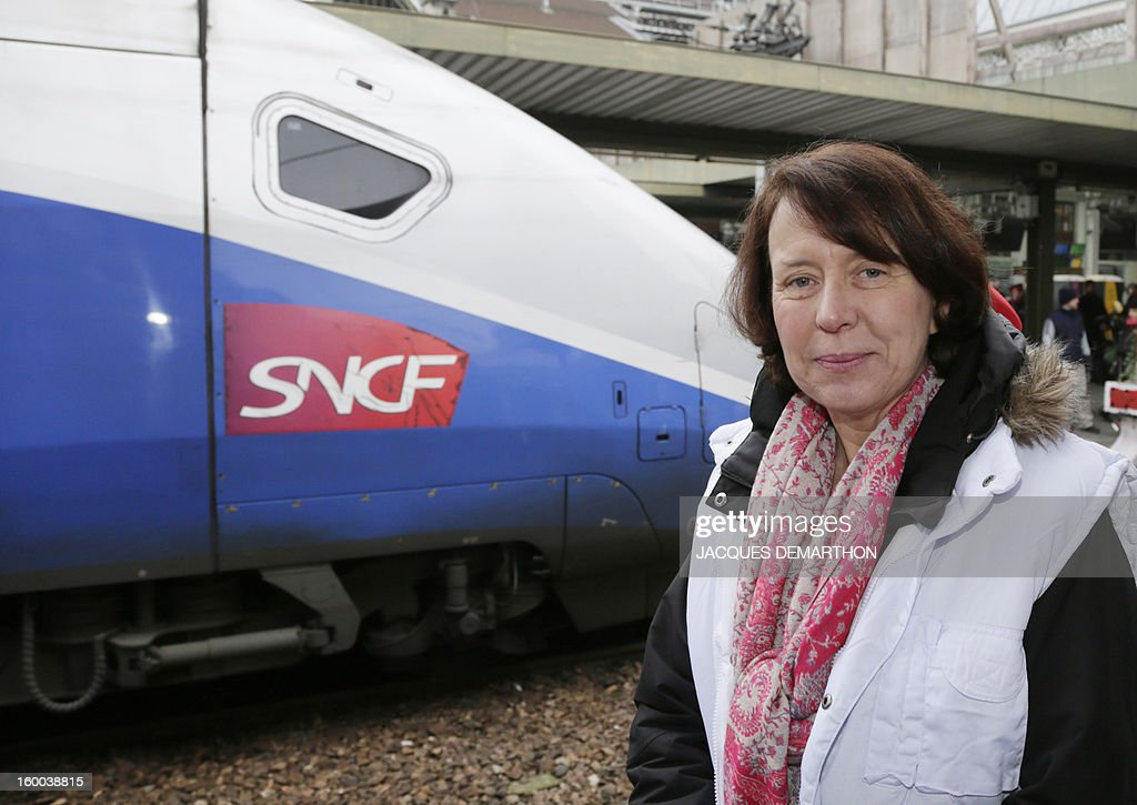 Barbara Dalibard, General Director of SNCF Voyages, poses at the Gare de Lyon railways station on January 25, 2013 in Paris, during the celebration of the 2 billionth traveler of the company.