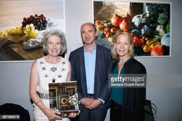 Barbara de Nicolay CEO Flammarion Gilles Haeri and Suzanne Isore attend Barbara de Nicolay signs her Book 'L'Esprit du Chateau de Lude' with the Eric...