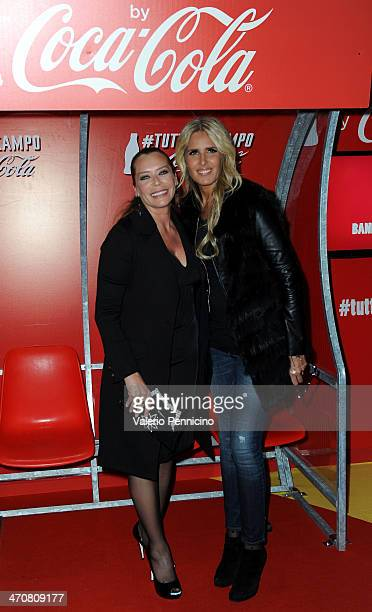 Barbara De Rossi and Tiziana Rocca attend a party during day two of the FIFA World Cup Trophy Tour on February 20 2014 in Rome Italy