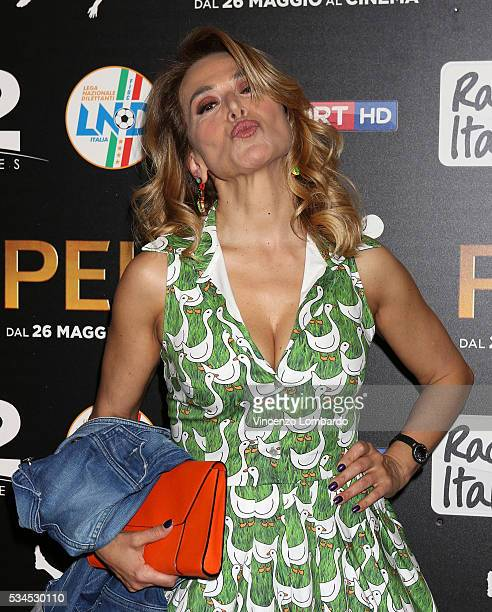 Barbara d'Urso attends the 'Pele' Red Carpet In Milan on May 26 2016 in Milan Italy