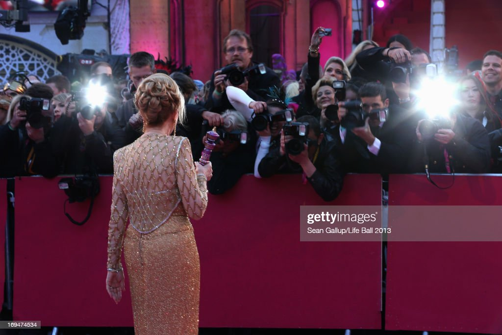 <a gi-track='captionPersonalityLinkClicked' href=/galleries/search?phrase=Barbara+Eden&family=editorial&specificpeople=206974 ng-click='$event.stopPropagation()'>Barbara Eden</a> attends the 'Life Ball 2013 - Magenta Carpet Arrivals' at City Hall on May 25, 2013 in Vienna, Austria.