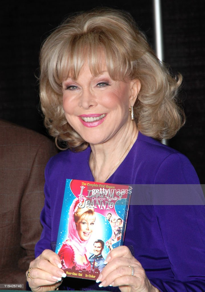 <a gi-track='captionPersonalityLinkClicked' href=/galleries/search?phrase=Barbara+Eden&family=editorial&specificpeople=206974 ng-click='$event.stopPropagation()'>Barbara Eden</a> during <a gi-track='captionPersonalityLinkClicked' href=/galleries/search?phrase=Barbara+Eden&family=editorial&specificpeople=206974 ng-click='$event.stopPropagation()'>Barbara Eden</a> & Larry Hagman Sign 'I Dream Of Jeannie' DVD - March 15, 2006 at Barnes & Noble in New York City, New York, United States.