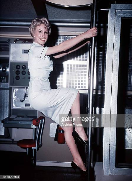 Barbara Eden on set of the film 'Voyage To The Bottom Of The Sea' 1961