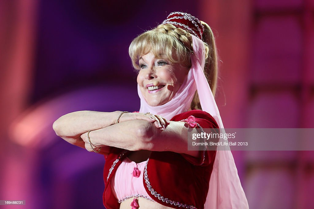 <a gi-track='captionPersonalityLinkClicked' href=/galleries/search?phrase=Barbara+Eden&family=editorial&specificpeople=206974 ng-click='$event.stopPropagation()'>Barbara Eden</a> performs during the 'Life Ball 2013 - Show' at City Hall on May 25, 2013 in Vienna, Austria.