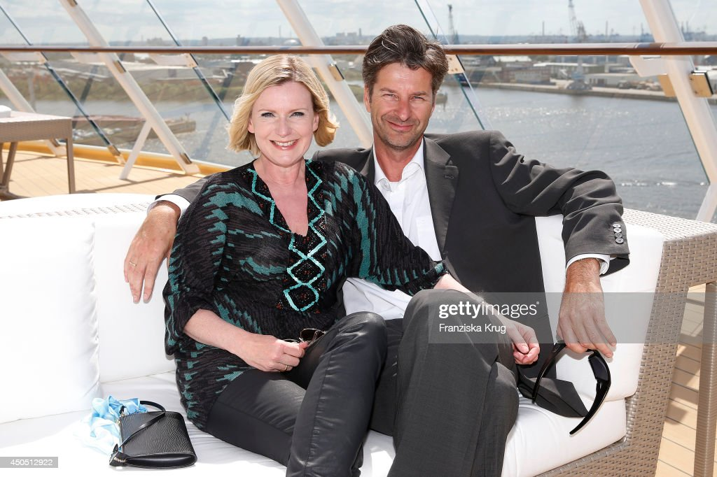 Barbara Eligmann and her husband Thomas Justus attend the christening of the ship 'Mein Schiff 3' on June 12, 2014 in Hamburg, Germany.