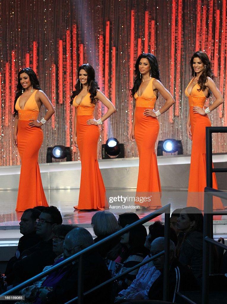 Barbara Falcon, Essined Aponte, Viviana Ortiz and Zuleika Silver attend Univisions Nuestra Belleza Latina Finalists Revealed at Univision Headquarters on March 31, 2013 in Miami, Florida.