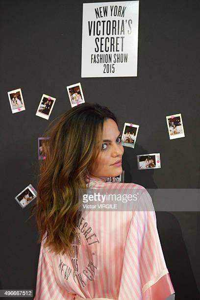 Barbara Fialho backstage before the 2015 Victoria's Secret Fashion Show at Lexington Avenue Armory on November 10 2015 in New York City