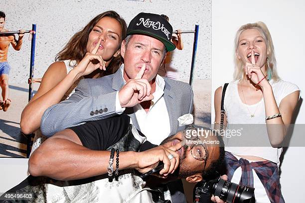 Barbara Fialho Ben Watts Maxwell and Aline Weber attend the GQ and Ben Watts Photo Exhibition celebrating the June issue and The World Cup at Milk...