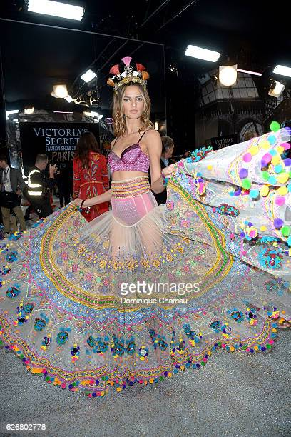 Barbara Fialho poses backstage during the Victoria's Secret Fashion Show on November 30 2016 in Paris France