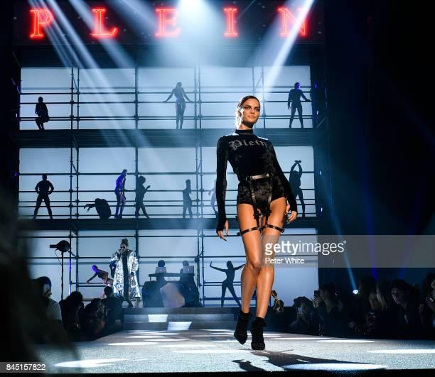 Barbara Fialho walks the runway at the Philipp Plein fashion show during New York Fashion Week The Shows at Hammerstein Ballroom on September 9 2017...