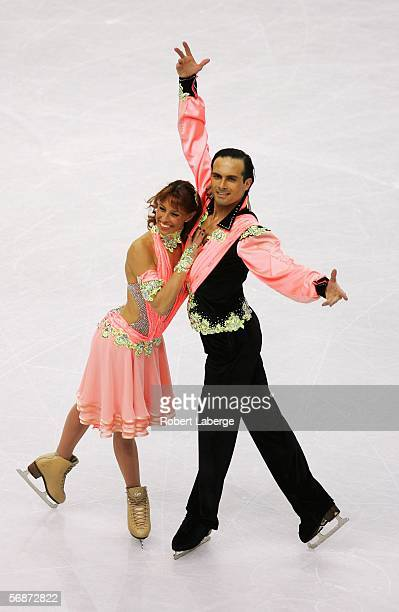 Barbara Fusar Poli and Maurizio Margaglio of Italy perform during the compulsory dance program of the figure skating during Day 7 of the Turin 2006...