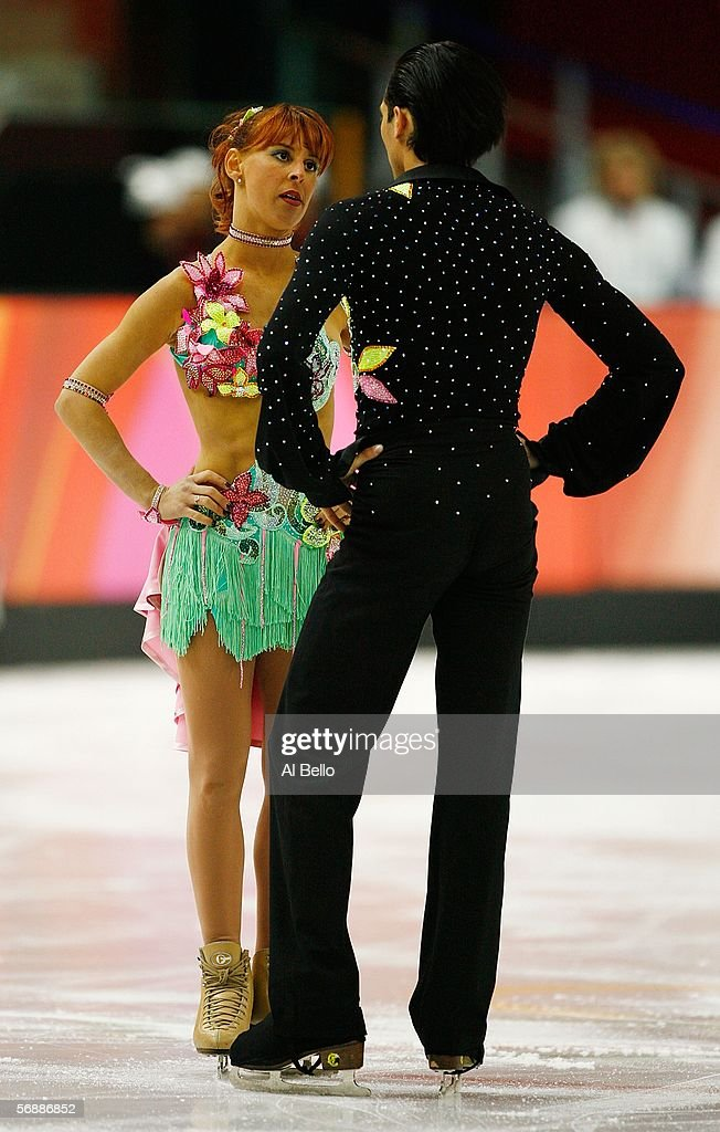 Barbara Fusar Poli and Maurizio Margaglio of Italy react after their performance during the Original Dance program of the figure skating during Day 9...