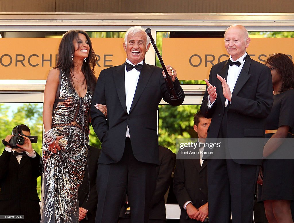 Barbara Gandolfi and actor JeanPaul Belmondo attend 'The Beaver' Premiere during the 64th Cannes Film Festival at the Palais des Festivals on May 17...