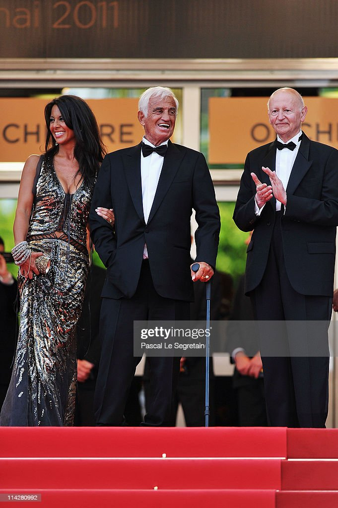 Barbara Gandolfi, Jean-Paul Belmondo and Gilles Jacob attend 'The Beaver' premiere at the Palais des Festivals during the 64th Cannes Film Festival on May 17, 2011 in Cannes, France.