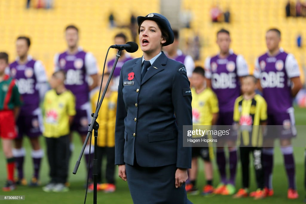 Barbara Graham from the Royal Air Force of New Zealand, sings the national anthems during the round six A-League match between the Wellington Phoenix and the Perth Glory at Westpac Stadium on November 12, 2017 in Wellington, New Zealand.
