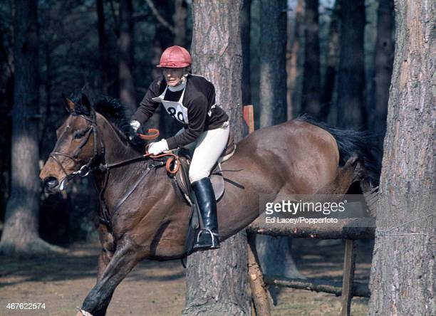 Barbara Hammond riding Eagle Rock in action during the Cross Country section of the Crookham Horse Trials at The Tweseldown Racecourse in Crookham...