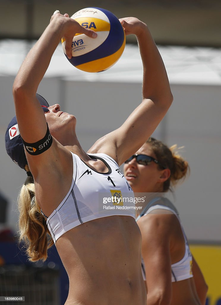 Barbara Hansel and Bianca Zass of Austria in action during day third of the FIVB Beach Volleyball Sao Paulo Grand Slam 2013 at Parque Villa Lobos on October 10, 2013 in Sao Paulo, Brazil.