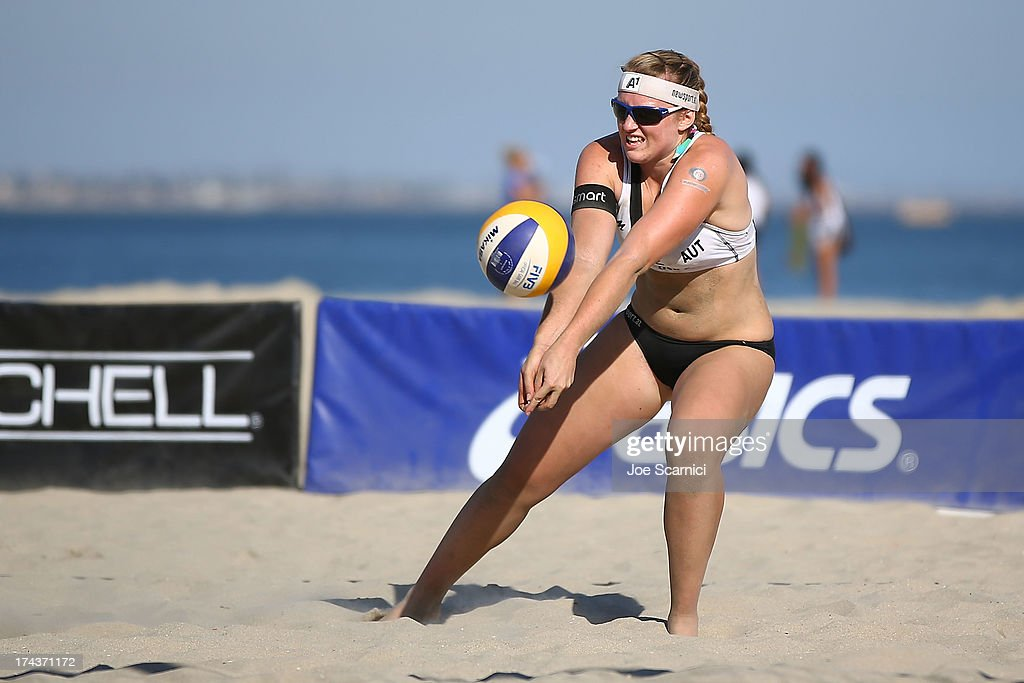 Barbara Hansel of Austria digs the ball during the first elimination round at the ASICS World Series of Beach Volleyball - Day 3 on July 24, 2013 in Long Beach, California.