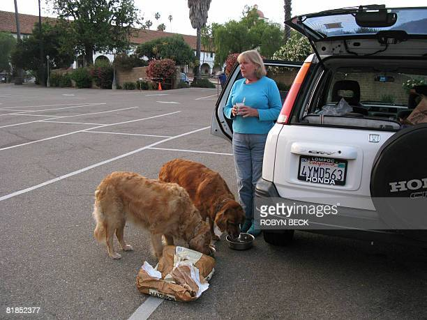 WOOLLARD 'USPOVERTYHOMELESS' Barbara Harvey feeds her golden retriever Phoebe and Ranger beside her car in which she sleeps in a parking lot in Santa...