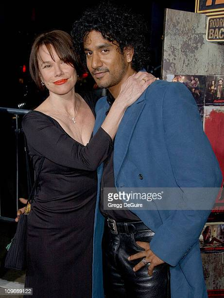 Barbara Hershey and Naveen Andrews during 'Grindhouse' Los Angeles Premiere Arrivals at The Orpheum Theatre in Los Angeles California United States