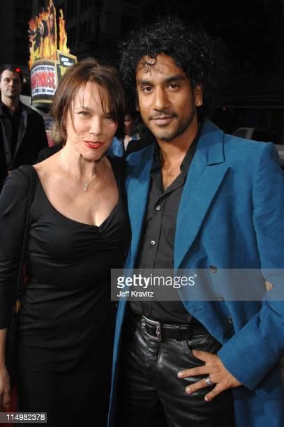 Barbara Hershey and Naveen Andrews during 'Grindhouse' Los Angeles Premiere Red Carpet at Orpheum Theatre in Los Angeles California United States
