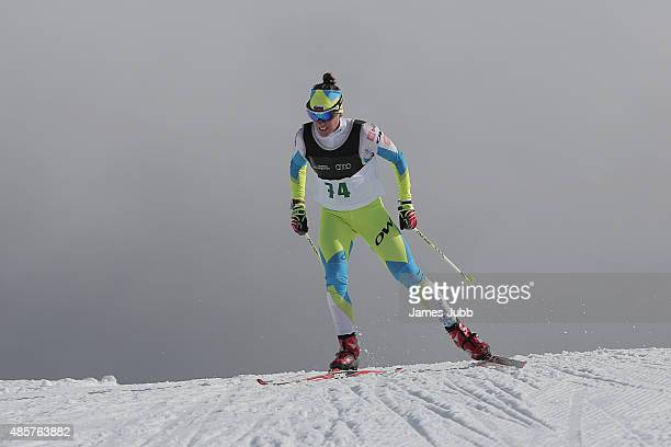 Barbara Jezersek of Slovenia competes in the Freestyle Individual Ladies 5km FIS CrossCountry Skiing ANC Individual Start Freestyle during the Winter...
