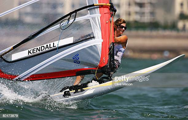 Barbara Kendall of New Zealand competes in the Women's RSX class medal race held at the Qingdao Olympic Sailing Center during day 12 of the Beijing...