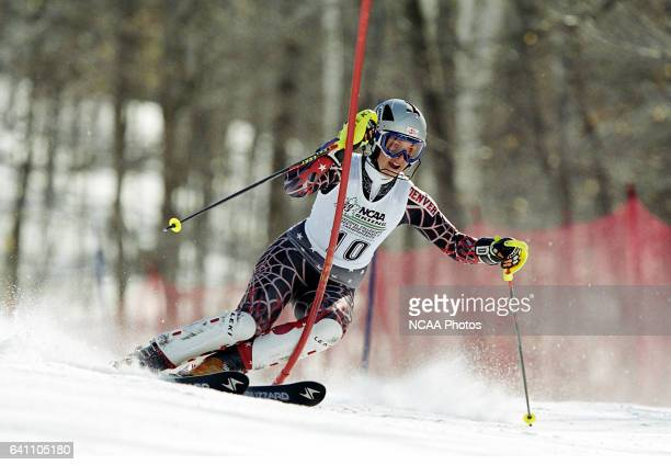 Barbara Knor of Denver University races to a sixth place finish in the women's slalom during the Division 1 Women's Skiing Championship held at the...