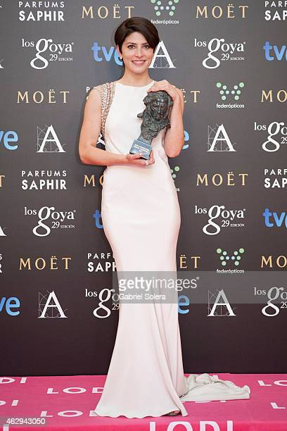 Barbara Lennie holds the award for Best Actress in the film 'Magic Girl' during the 2015 edition of the Goya Cinema Awards at Centro de Congresos...