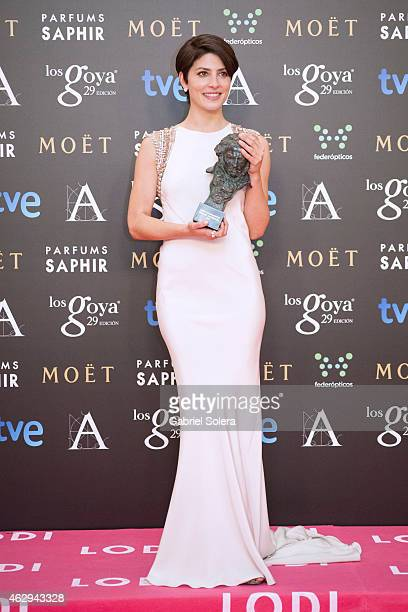 Barbara Lennie holds the award for the Best Actress in the film 'Magic Girl' during the 2015 edition of the 'Goya Cinema Awards' at Centro de...