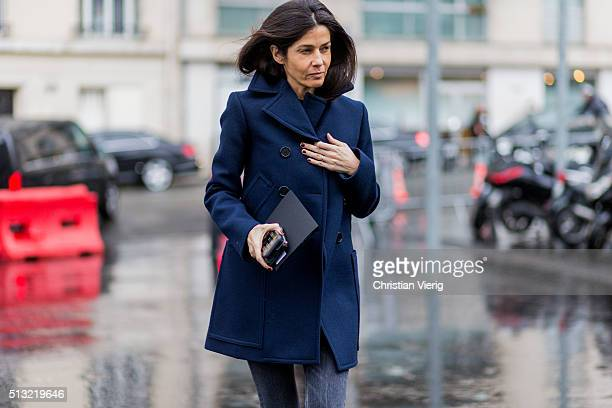 Barbara Martelo is seen wearing a navy blue wool coat and jeans outside Anthony Vaccarello during the Paris Fashion Week Womenswear Fall/Winter...
