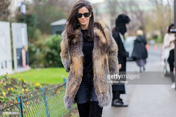 Barbara Martelo outside Chanel during the Paris Fashion Week Haute Couture Spring/Summer 2016 on January 26 2016 in Paris France
