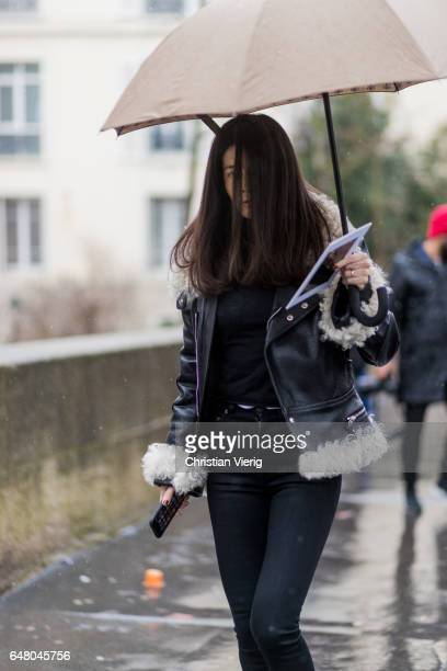 Barbara Martelo outside Mugler on March 4 2017 in Paris France