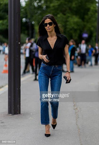 Barbara Martelo wearing a black blouse and navy denim jeans outside Chanel during Paris Fashion Week Haute Couture F/W 2016/2017 on July 5 2016 in...