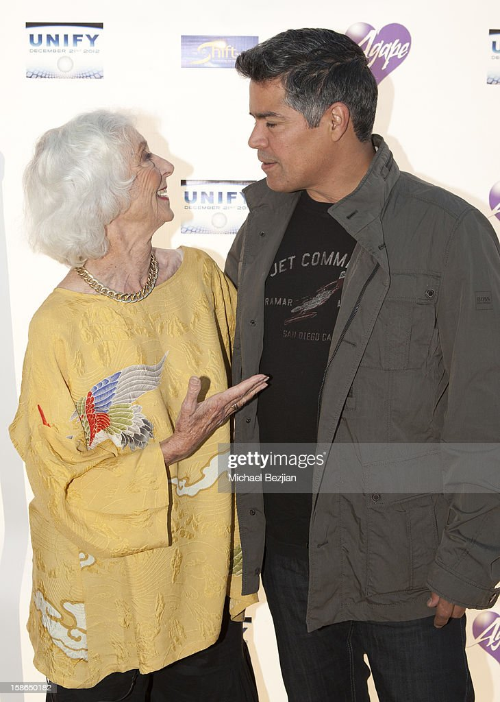 Barbara Marx Hubbard and <a gi-track='captionPersonalityLinkClicked' href=/galleries/search?phrase=Esai+Morales&family=editorial&specificpeople=208672 ng-click='$event.stopPropagation()'>Esai Morales</a> attend Birth 2012 LA Gala at Agape International Spiritual Center on December 22, 2012 in Los Angeles, California.
