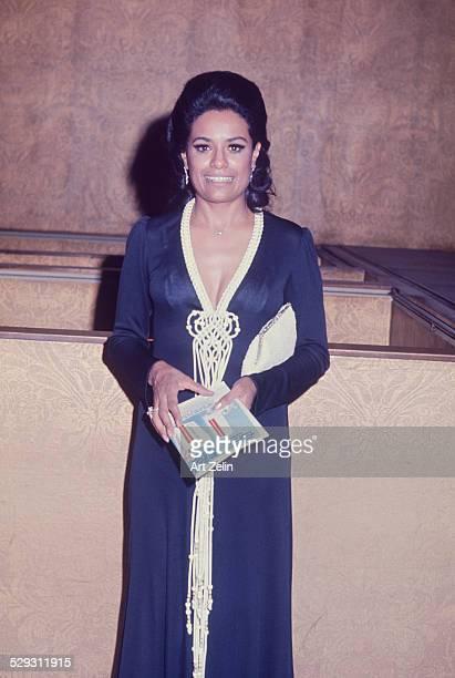 Barbara McNair wearing a navy formal with macrame trim circa 1970 New York