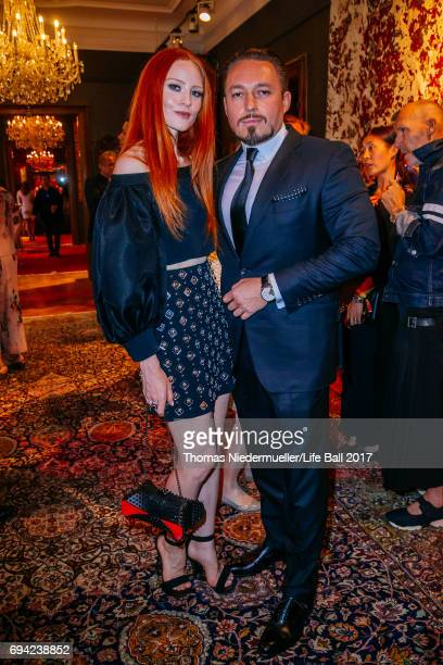Barbara Meier and her boyfriend Klemens Hallmann attend the Life Ball 2017 reception at Palais Szechenyi on June 9 2017 in Vienna Austria The Life...