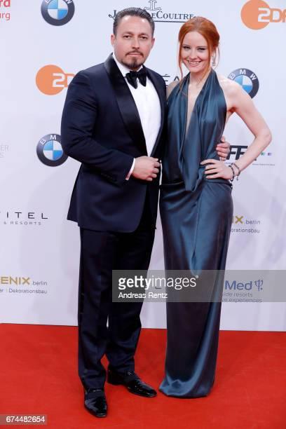 Barbara Meier and her boyfriend Klemens Hallmann attend the Lola German Film Award red carpet at Messe Berlin on April 28 2017 in Berlin Germany