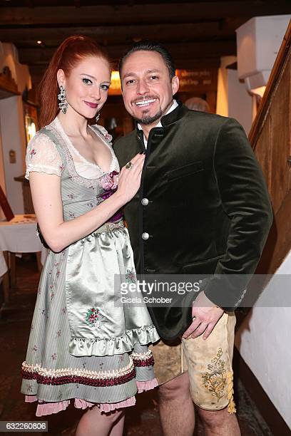 Barbara Meier and her boyfriend Klemens Hallmann during the Weisswurstparty at Hotel Stanglwirt on January 20 2017 in Going near Kitzbuehel Austria