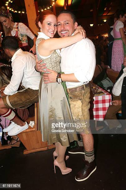 Barbara Meier and her boyfriend Klemens Hallmann during the Oktoberfest at SchuetzenFestzelt /Theresienwiese on October 1 2016 in Munich Germany