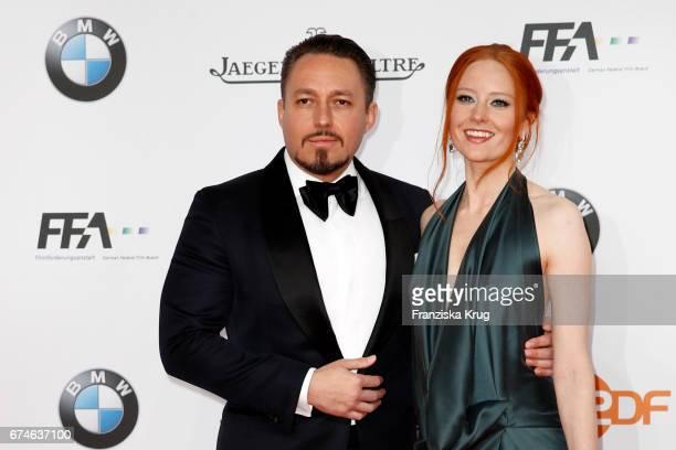 Barbara Meier and her boyfriend Klemens Hallmann during the Lola German Film Award red carpet arrivals at Messe Berlin on April 28 2017 in Berlin...