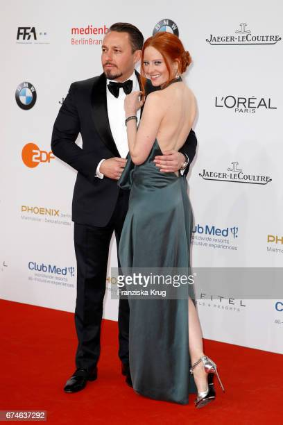 Barbara Meier and her boyfriend Klemens Hallmann during the Lola German Film Award red carpet arrivals at Messe Berlin on April 28 2017 in Berlin...