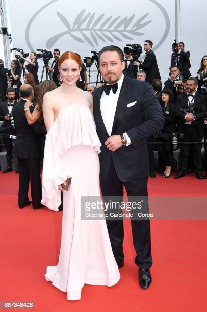 Barbara Meier and Klemens Hallmann attend the 70th Anniversary screening during the 70th annual Cannes Film Festival at Palais des Festivals on May...