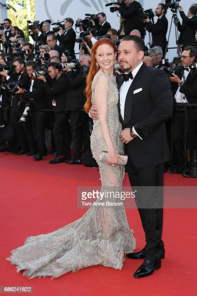 Barbara Meier and Klemens Hallmann attend the 'Ismael's Ghosts ' screening and Opening Gala during the 70th annual Cannes Film Festival at Palais des...
